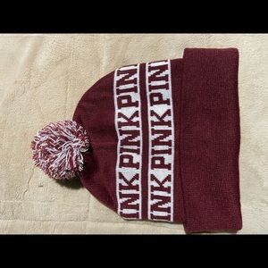 Victoria Secret Pink Burgundy beanie
